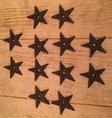 "Cast Iron Center Hole Star Small 2 3/4"" wide (Set of 12) DIY Crafts 0170-02108"