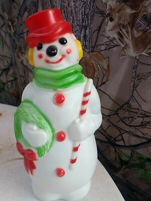 """Vintage 1968 EMPIRE Plastic Blow mold SNOWMAN Frosty Christmas light-up 13"""" tall"""