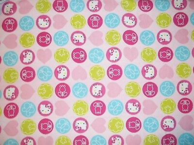New Hand Made Hello Kitty Pink Circles Flannel Fitted Crib/Toddler Sheet