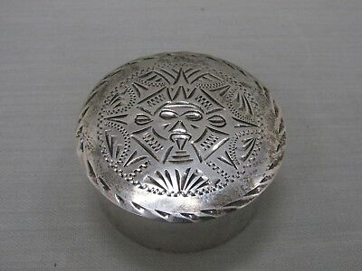 Sterling Silver Mayan Pillbox Made in Mexico