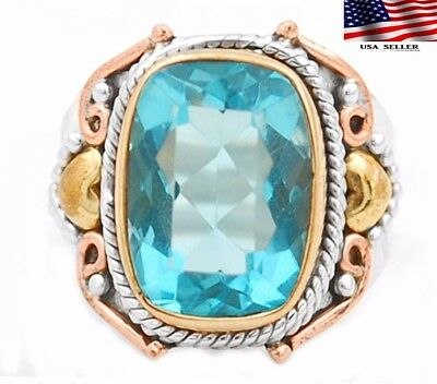 6CT Flawless Blue Topaz 925 Sterling Silver Victorian Style Ring Jewelry Sz 8