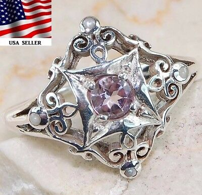 Amethyst & Pearl 925 Solid Sterling Silver Art Deco Ring Jewelry Sz 7