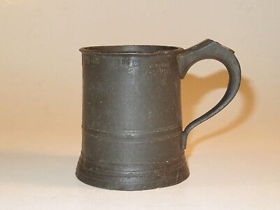Nice Large 19Th Century Pewter Tankard With Maker's Name