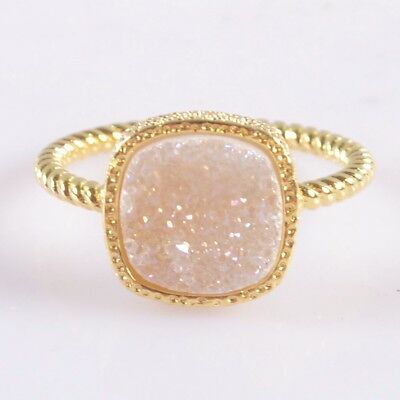 Size 7.5 Natural Agate Druzy Titanium AB Bezel Ring Gold Plated H104159