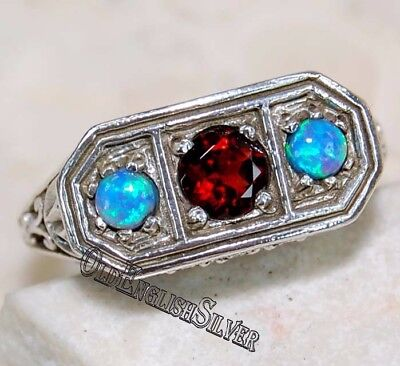 1CT Fire Garnet & Opal 925 Sterling Silver Art Deco Filigree Ring jewelry Sz 8