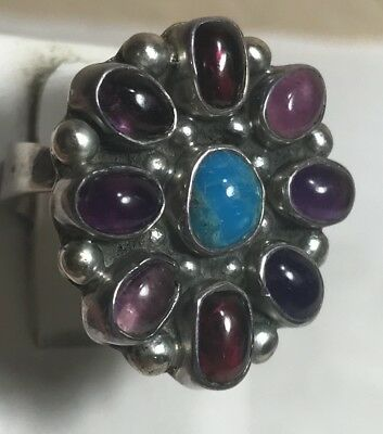 SOUTHWESTERN Amethyst,Turquoise Sterling Silver Ring Signed B sz 7.5