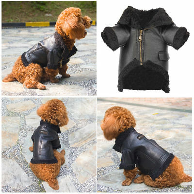 Waterproof Warm Winter Pet Dog Coat PU Leather Jacket Windproof Puppy Clothes US