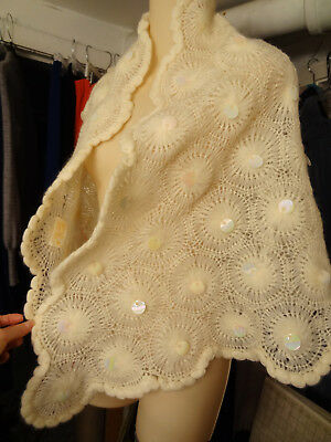 Vtg Glentex Handmade Cream/Ivory Sheer Crochet Wool Paillette-Detail Shawl/Wrap