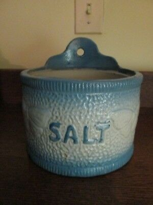Vintage Blue White Pottery Stoneware Hanging Salt Crock Butterfly