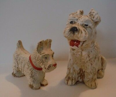 2 Vintage Scottish Terrier Scottie Dog Figurines - White Painted Syroco Wood