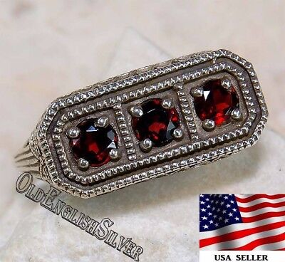 1CT Fire Garnet 925 Sterling Silver Edwardian Style Filigree Ring jewelry Sz 6