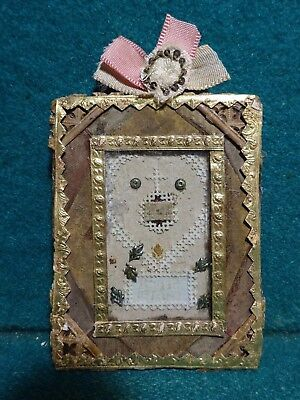 w/ RELIC FROM CLOTHES QUEEN ST ELIZABETH Antiq 19th Cent. NUN'S WORK RELIQUARY