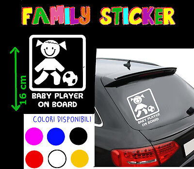 STICKER STICKERS adesivo FAMILY Auto BORDO BOARD PLAYER FOOTBALL CALCIATORE BEBè