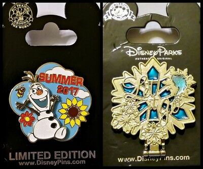 Disney Parks 2 Pin Lot LE 5000 Summer 2017 Olaf + FROZEN mirror hinged