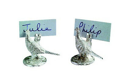 Silver Place Card Holder Pheasant.  Hallmarked Silver Pheasant Place Settings
