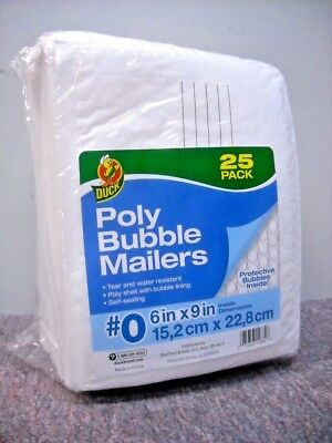"NEW 25 Pack Size 0 Duck Brand Bubble Mailers 6"" x 9"" Padded Mailing Envelopes"