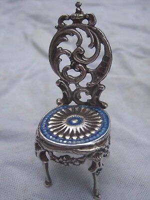 1897 solid silver + blue miniature doll's house chair Edwin Thomson Bryant 19g