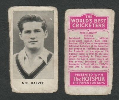 3190)   Worlds Best Cricketers -Hotspur Paper For Boys - Neil Harvey Victoria