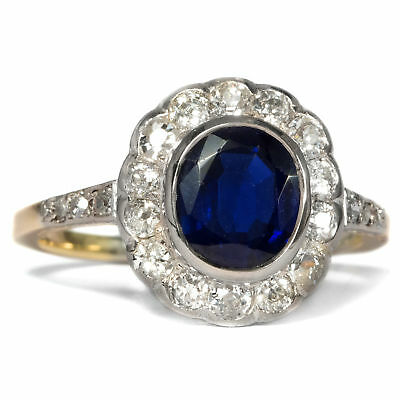 Um 1910: Antiker Saphir RING & 0,48 ct Diamant in 585 Gold & Platin / Sapphire