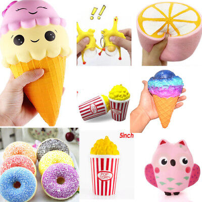 Slow Rising rainbow ice-cream Squishy Animals Squeeze Charm Stress Relieve Toys