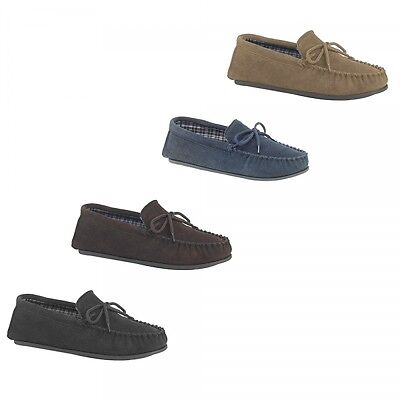 Mokkers BRUCE Mens Genuine Suede Leather Comfort Lace Tie Up Moccasin Slippers