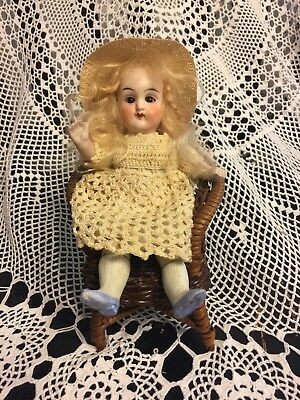 """Antique 6"""" All Bisque Doll Closed Mouth White Line b/w Lips Marked 6343 German"""