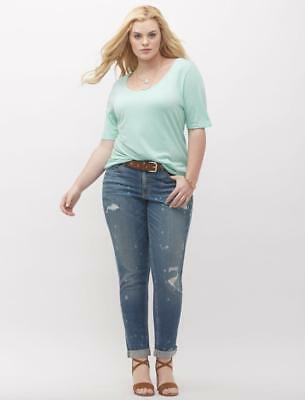 2d55f925b00 Lane Bryant Destructed Boyfriend Jeans with Paint Splatter Women s Plus 18  28