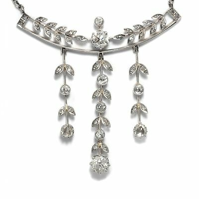 Belle Époque um 1905: Antikes Diamant Collier, Diamanten in Gold & Platin. Kette