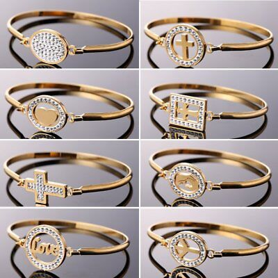 Stainless Steel CZ Crystal Love Heart Cuff Bracelet Bangle Family Mother Jewelry