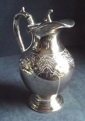 SUPERB Large ~ GOTHIC Engraved ~ SILVER Plated ~ Water / WINE JUG ~ c1880