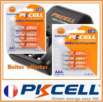 Piles Rechargeables 1.6V PKCELL Chargeur NiZn Accus Pile AA AAA LR6 LR3