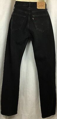 Levi's 501 Black Button Fly Jeans High Waist Straight Leg Denim Womens 31x34 VTG