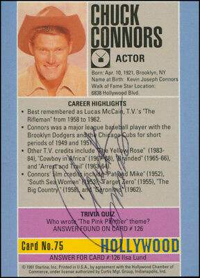 Chuck Connors - Trading/Sports Card Signed