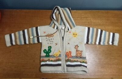 "Child's Peruvian Cardigan Ethnic Hippy Knitted Wool 6-12 12-18 22"" boys girls"