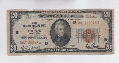 Federal Reserve Note FRBN $20 1929 vg stain