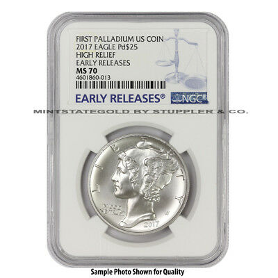 2017 $25 1 oz ounce Palladium American Eagle NGC MS70 ER Early Releases coin