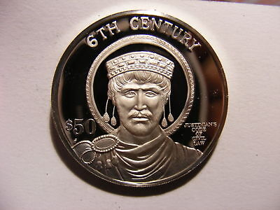 1997 Cook Is Large Silver Proof $50 Millennium-6th Century-Justinian Legal Code