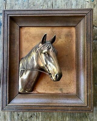 Solid Copper Horse Head Three Dimensional in Frame