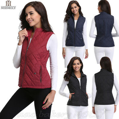 Womens Autumn Lightweight Quilting Padded Puffer Zip up Quilted Vest Coat Casual