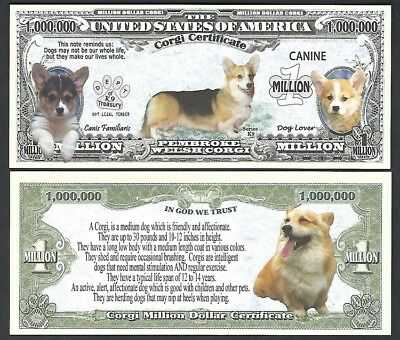 Corgi Million Dollar Dog Puppy & Adult Pics, Facts on Back - Lot of 2 Bills