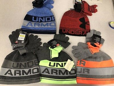 NWT Under Armour UA Little Boy's Beanie & Glove Combo Set (AGE 4-6)