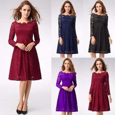 Womens Long Sleeve Prom Formal 1940s 1950s Vintage Lace Party Flared Swing Dress