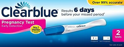 Clearblue Pregnancy Test 6 Days Early Detection Testing Stick Kits - 2 Tests