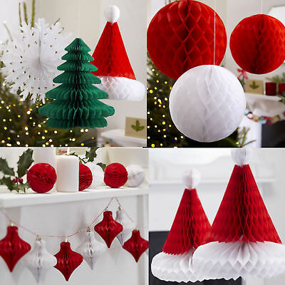 Christmas Honeycomb Bunting Snowflake Bauble Tree Decoration Ginger Ray