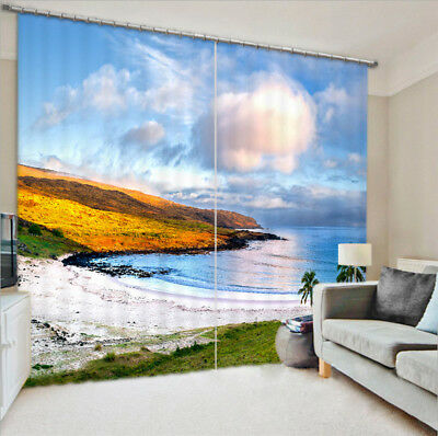 3D Palm Beach Cloud Blockout Photo Printing Decor Curtain Drapes Fabric Window