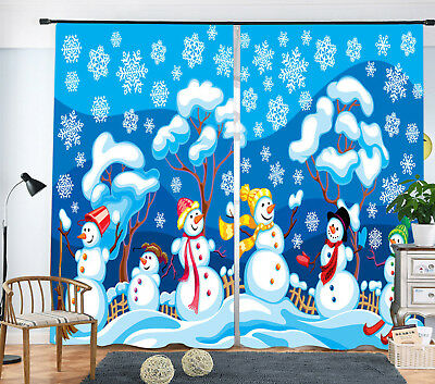 3D Xmas Snowman Party Blockout Photo Printing Decor Curtain Fabric Window Drapes