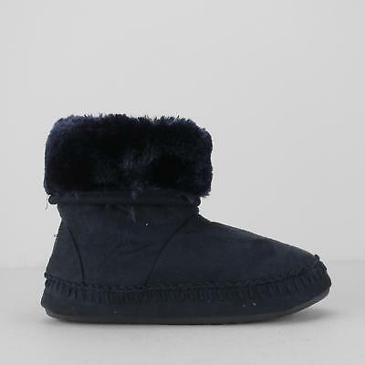 House of Slippers BOOTIE KIDS Girls Faux Fur Warm Lined Boot Slippers Navy Blue