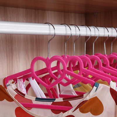 ABS Closet Heart Shaped Space Save Clothing Hanger Non-Slip Velvet Thin Clothes