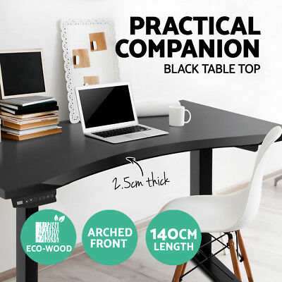 Curved Table Desk Top For Height Adjustable Frame Standing Sit Office 140cm BK