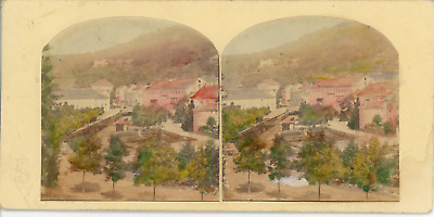 STEREO Allemagne, panorama du pays de Bade  Vintage albumen stereo card Tirage